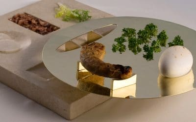 Greater Goods: Raised Limestone Seder Plate by Amy Klein Reichert