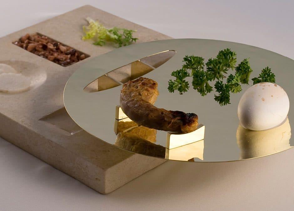 Greater Goods: Raised Limestone Seder Plate by Amy Klein Reichert